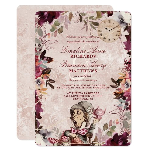 Alice in Wonderland Elegant Vintage Border Wedding Invitation