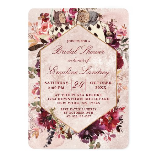 Alice in Wonderland Elegant Wedding Bridal Shower Invitation
