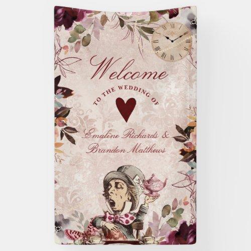 Alice in Wonderland Elegant Wedding Welcome Banner