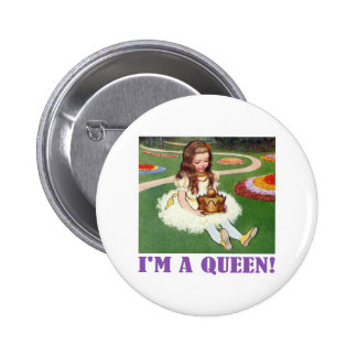 """Alice in Wonderland Exclaims, """"I'm A Queen!"""" Button"""