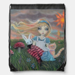 Alice in Wonderland Fairytale Art Drawstring Backpack