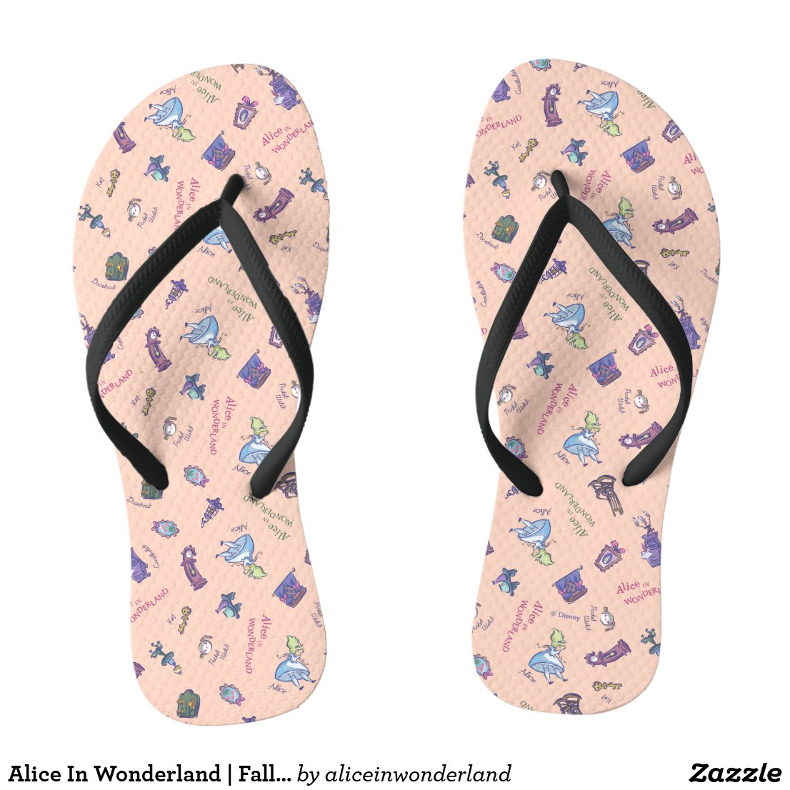Alice In Wonderland | Falling Down Pattern Flip Flops