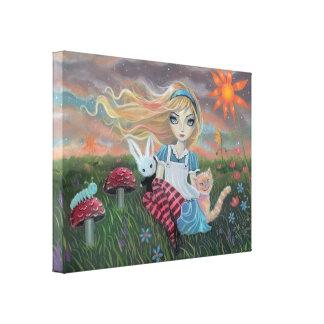 Alice in Wonderland Fantasy Fairytale Art Canvas Stretched Canvas Print