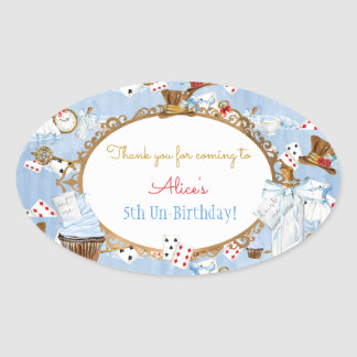 Alice in Wonderland Favor Gift Thank You Oval Sticker