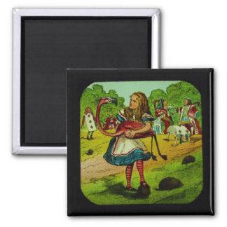 Alice in Wonderland Flamingo Croquet 2 Inch Square Magnet
