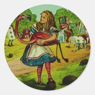 Alice in Wonderland Flamingo Croquet Classic Round Sticker