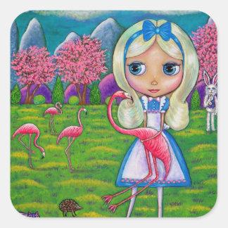 Alice in Wonderland Flamingo Croquet Hedgehog Square Sticker