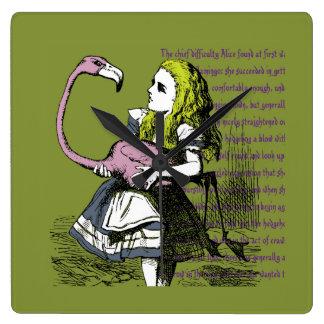 Alice in Wonderland | Flamingo Croquet Square Wall Clock