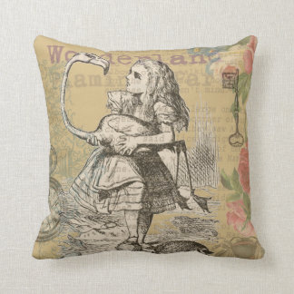 Alice in Wonderland Flamingo Mad Tea Party Throw Pillow