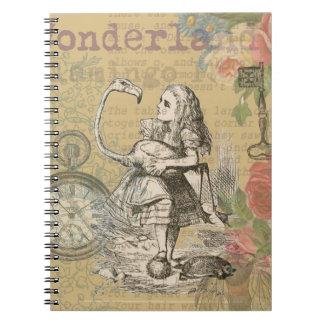 Alice in Wonderland Flamingo Spiral Notebooks
