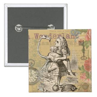 Alice in Wonderland Flamingo Pinback Button