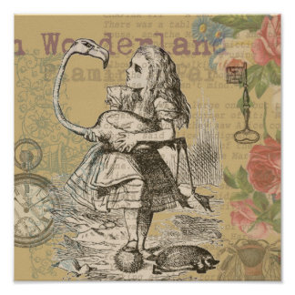 Alice in Wonderland Flamingo Poster