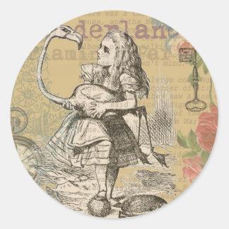 Alice in Wonderland Flamingo Vintage Classic Round Sticker