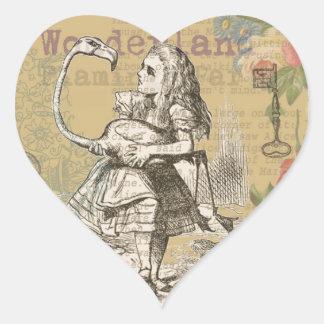 Alice in Wonderland Flamingo Vintage Heart Sticker
