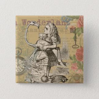 Alice in Wonderland Flamingo Vintage Pinback Button
