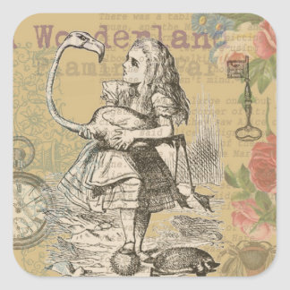 Alice in Wonderland Flamingo Vintage Square Sticker