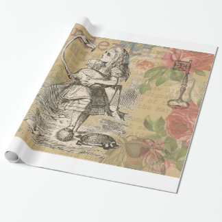 Alice in Wonderland Flamingo Vintage Wrapping Paper