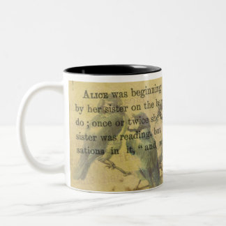 Alice In Wonderland Floral Mixed Media Two-Tone Coffee Mug