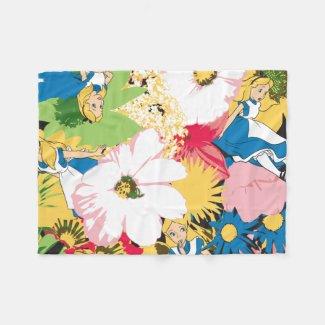 Alice in Wonderland Floral Pattern Fleece Blanket