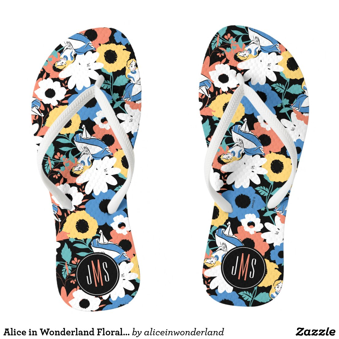 Alice in Wonderland Floral Retro Monogram Flip Flops