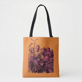 Alice in Wonderland & Flowers Tote Bag
