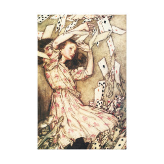 Alice in Wonderland Flying Cards Gallery Wrap Canvas