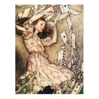 Alice in Wonderland Flying Cards Postcard