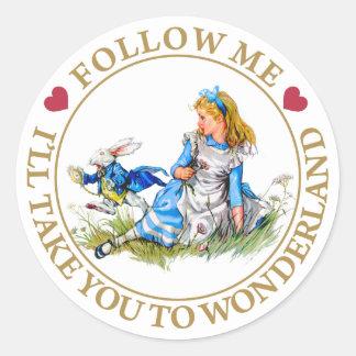 Alice In Wonderland - Follow Me Classic Round Sticker