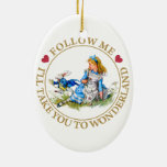 Alice In Wonderland - Follow Me Double-Sided Oval Ceramic Christmas Ornament