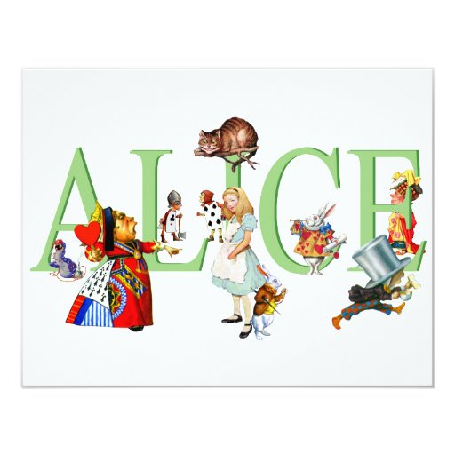 ALICE IN WONDERLAND & FRIENDS 4.25X5.5 PAPER INVITATION CARD