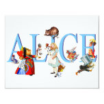"ALICE IN WONDERLAND & FRIENDS 4.25"" X 5.5"" INVITATION CARD"