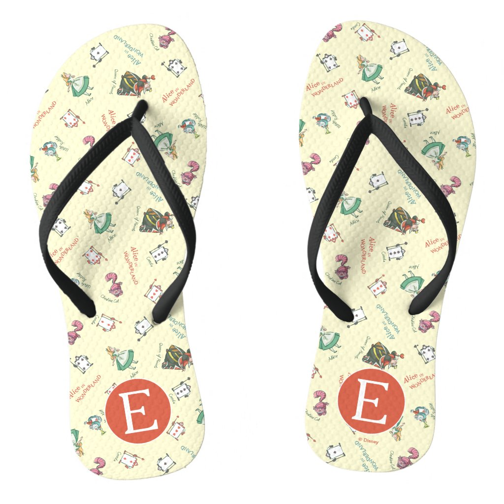 Alice In Wonderland & Friends | Pattern - Monogram Flip Flops