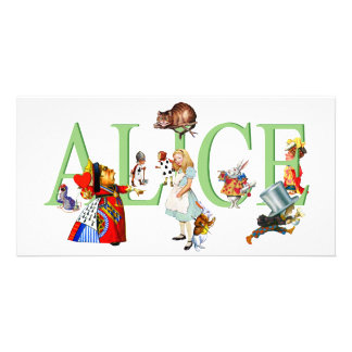ALICE IN WONDERLAND FRIENDS PERSONALIZED PHOTO CARD
