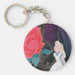 Alice in Wonderland Garden Flower Film Still Basic Round Button Keychain
