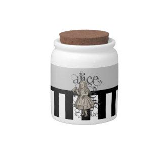 Alice In Wonderland Grunge (Black & White) Candy Dish