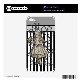 Alice In Wonderland Grunge (Black & White) iPhone 4 Skins