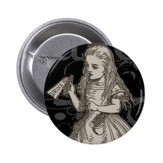 Alice In Wonderland Grunge Button