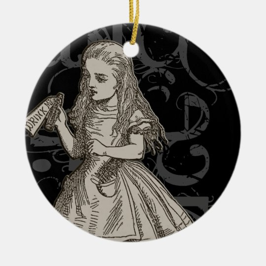 Alice In Wonderland Grunge Ceramic Ornament