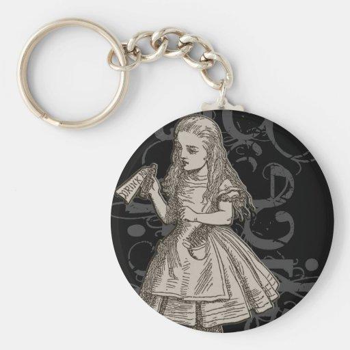 Alice In Wonderland Grunge Basic Round Button Keychain