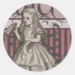 Alice In Wonderland Grunge (Pink) Round Sticker