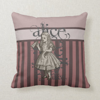 Alice In Wonderland Grunge (Pink) Throw Pillow