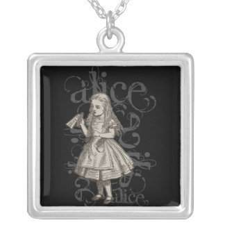 Alice In Wonderland Grunge Silver Plated Necklace
