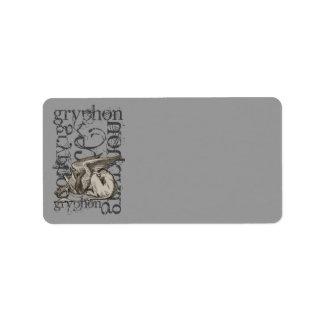 Alice In Wonderland Gryphon Grunge Label