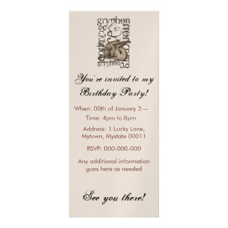 Alice In Wonderland Gryphon Grunge (Single Figure) Custom Invite