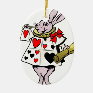 Alice in Wonderland Hare, Card and trumpet - Tale Ceramic Ornament