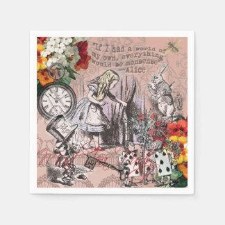 Alice in Wonderland Hatter and Rabbit Paper Napkin