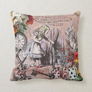 Alice in Wonderland Hatter and Rabbit Throw Pillow
