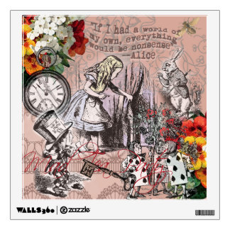 Alice in Wonderland Hatter and Rabbit Wall Decal