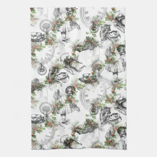 Alice in Wonderland Holly Christmas Kitchen Towel