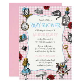 alice in wonderland baby shower invitations  announcements  zazzle, Baby shower